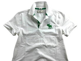 Abercrombie&Fitch (アバクロンビー&フィッチ) 正規品 ストレッチ 鹿の子半袖ポロシャツ (Exploded Icon Polo) メンズ (White) 新品 日本未発売
