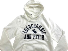 Abercrombie&Fitch (アバクロンビー&フィッチ) ムース刺繍 アップリケ プルオーバー パーカー(フーディー) (Applique Graphic Hoodie) メンズ (White) 新品 日本未発売