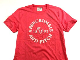 Abercrombie&Fitch 正規品 (アバクロンビー&フィッチ) ロゴ アップリケ グラフィックTシャツ (Embroidered Graphic Tee) メンズ (Coral) 新品