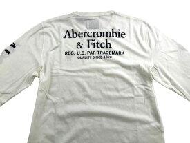 Abercrombie&Fitch (アバクロンビー&フィッチ) バックプリント付き 長袖Tシャツ (ロンT) (Long-Sleeve Graphic Tee) メンズ (White) 新品 日本未発売