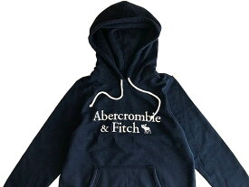 Abercrombie&Fitch (アバクロンビー&フィッチ) 日本未発売 アップリケ プルオーバーパーカー (フーディー) (Logo Hoodie) レディース (Navy Blue) 新品