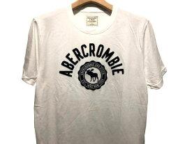 Abercrombie&Fitch 正規品 (アバクロンビー&フィッチ) アップリケ Tシャツ (Logo Graphic Tee) メンズ (White) 新品 日本未発売