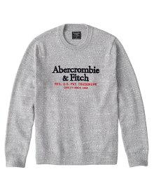 Abercrombie&Fitch (アバクロンビー&フィッチ) 正規品 ロゴ刺繍 クルーネック セーター (Embroidered Logo Crewneck Sweater) メンズ (Heather Grey) 新品