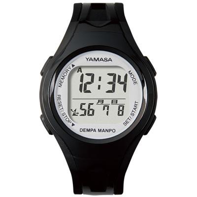 山佐時計計器(YAMASA) 電波時計内蔵腕時計ウォッチ万歩計 DEMPA MANPOsmall<ブラック×シルバー> TM-450 554529