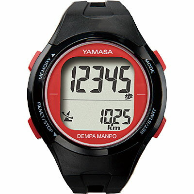 山佐時計計器(YAMASA) 電波時計内蔵腕時計型 ウォッチ万歩計 DEMPA MANPO<ブラック×レッド> TM-500 555014