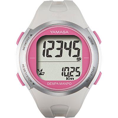 山佐時計計器(YAMASA) 電波時計内蔵腕時計型 ウォッチ万歩計 DEMPA MANPO<ホワイト×ピンク> TM-500 555007