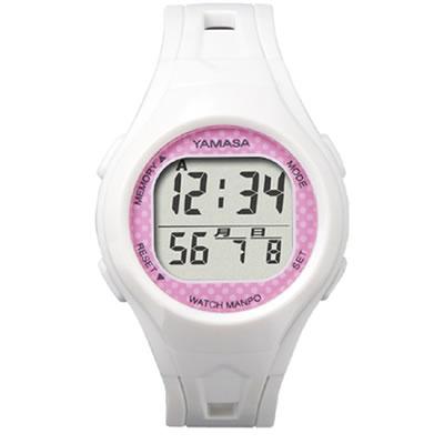 山佐時計計器(YAMASA) クォーツ腕時計型歩数計 ウォッチ万歩計 WATCH MANPO<ホワイト×ピンク> TM-400 554000