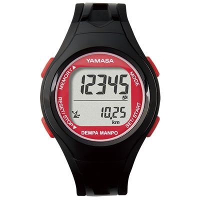 山佐時計計器(YAMASA) 電波時計内蔵腕時計 ウォッチ万歩計 DEMPA MANPO small<ブラック×レッド> TM-450 554512