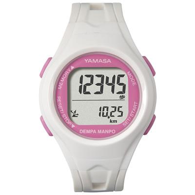 山佐時計計器(YAMASA) 電波時計内蔵腕時計 ウォッチ万歩計 DEMPA MANPO small<ホワイト×ピンク> TM-450 554505