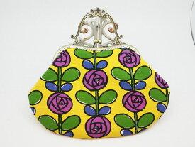 ハンドメイド 気持ち華やぐがま口バッグ (口金21センチ)黄色と紫のローズ