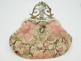 ハンドメイド 気持ち華やぐがま口バッグ (口金21センチ)柔らかい感じの花柄・ピンク