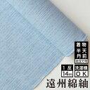 【送料無料】絣紬 とぎれ縞 -水色-綿 着物 洗える着物 大人可愛い おしゃれな きれいめ