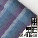 生地 縞紬 S-50 -紫陽花(あじさい)- 木綿反物