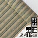 【送料無料】日本の縞 遠州縞 うぐいす綿 着物 洗える着物 大人可愛い おしゃれな きれいめ