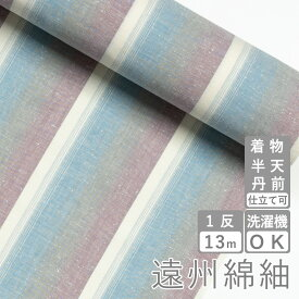 遠州綿紬 S-58 -月白(げっぱく)-