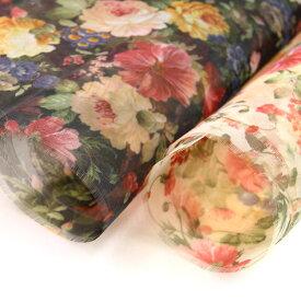 生地 Rococo Flower-ハードチュール- ハードチュールプリント生地 ( パニエ 舞台衣装 ヘッドドレス 髪飾り ヘアアクセサリー ) 50cm単位
