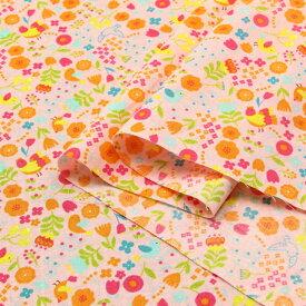小鳥と小花のマーチ シーチング生地 ( ハンドメイド 雑貨 インテリアパッチワーク ブラウス チュニック ) 50cm単位