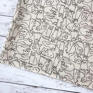 【10センチ単位】 日本製 猫柄 生地 モノトーン猫 キナリ 綿麻キャンバス コットンリネン 北欧風 商用利用可 生地 猫 ねこ ネコ 黒猫