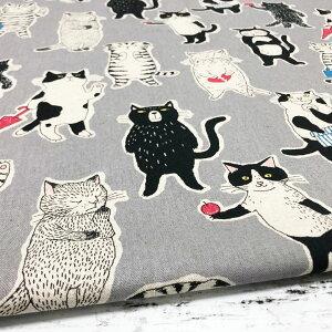 【10センチ単位】猫柄 生地 おでかけねこさん グレー 綿麻キャンバス コットンリネン 北欧風 商用利用可 Miyako Kawaguchi ミヤコ カワグチ ねこ ネコ cat