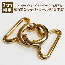ゴムベルト 金具 だるまひっかけ ゴールド 3cm幅用 日本製【ネコポス対応】【3cm幅のベルトラーズ・キッズベルトラーズに】【新作】【RCP】