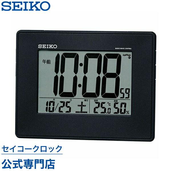 SEIKOギフト包装無料 セイコークロック SEIKO 掛け時計 壁掛け 置き時計 目覚まし時計 電波時計 SQ770K デジタル カレンダー 温度計 湿度計 おしゃれ【あす楽対応】【ギフト】