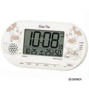 SEIKOギフト包装無料 セイコークロック SEIKO ディズニー キャラクター 目覚し時計 電波時計 FD482A ミッキー&フレンズ デジタル カレンダー 温湿度計 ライト付 31曲メロディアラーム かわいい
