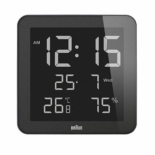 ブラウン BRAUN 掛け置き兼用時計 BNC014BK-NRC デジタルウォールクロック アラーム カレンダー 温度 湿度 ブラック 【正規品】【ギフト】
