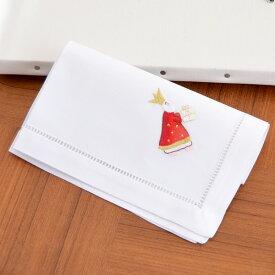 【メール便対応商品 4点まで】スウェーデンのクリスマス刺繍 ハンカチ 大判 ハンカチーフ 40×40cm 【王様とプレゼント 】【あす楽対応】【正規品】