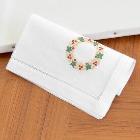 【メール便対応商品 4点まで】スウェーデンのクリスマス刺繍 大判 ハンカチーフ 40×40cm 【ゴールドリース 】【あす楽対応】【正規品】