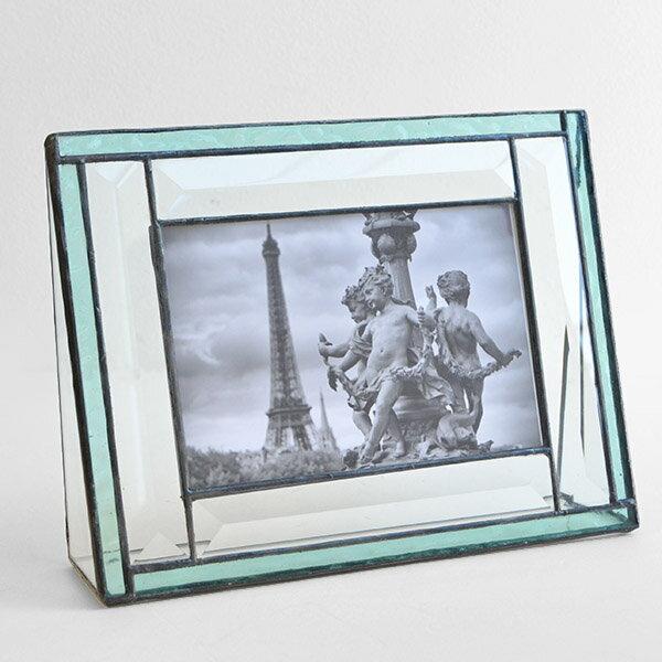 ガラス製 写真立て 結婚祝い フォトフレーム アンティーク調 J.DEVLIN 米国ガラスアート専門メーカー PIC378-46H【写真サイズ はがき】【あす楽対応】【正規品】