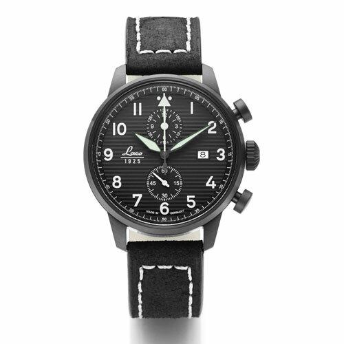 【国内正規品】【ギフト包装無料】ラコ LACO パイロットウォッチ Lausanne ローザンヌ 861975 メンズ ドイツ製 腕時計 クロノグラフ 径42mm ブラックレザーベルト 【送料無料】
