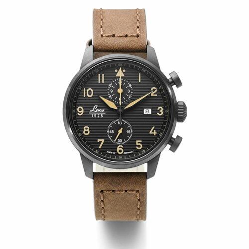 【国内正規品】【ギフト包装無料】ラコ LACO パイロットウォッチ Engadin エンガディン 861976 メンズ ドイツ製 腕時計 クロノグラフ 径42mm ブラウンレザーベルト 【送料無料】