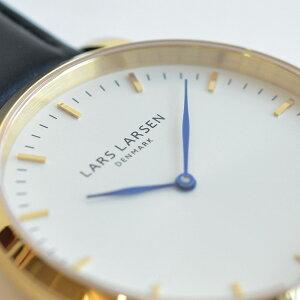 ラースラーセンLARSLARSENデンマーク製腕時計【37mm】メンズレディースLL144GWBLLLW44シリーズホワイトダイヤル×ゴールドケースブラックレザーベルト|北欧時計ユニセックス革ベルトラース・ラーセン【正規品】【送料無料】【あす楽対応】
