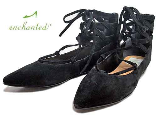 【あす楽】エンチャンテッド enchantedレースアップパンプスブラックS【レディース・靴】