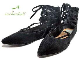 【あす楽】エンチャンテッド enchanted レースアップパンプス ブラックS【レディース・靴】