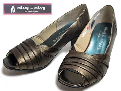 【あす楽】ミッシーマドラス missy madras オープントゥパンプス ブロンズコンビ【レディース・靴】