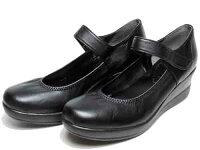 【あす楽】ファーストコンタクトFIRSTCONTACTウエッジヒールストラップパンプスブラック【レディース・靴】