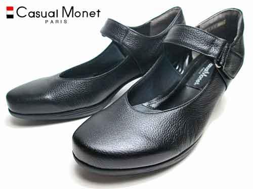 【あす楽】カジュアルモネ Casual Monet ストラップパンプスブラック【レディース・靴】