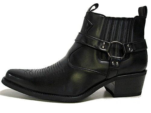 ベーシスボーイ BASIS BOY ウエスタンブーツ リングブーツ サイドゴアブーツ サイドファスナー付き ブラック【メンズ・靴】
