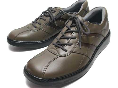 【あす楽】HONTONIRAKUDA ホントニラクダ 内側ファスナー付き カジュアルウォーキングシューズ ダークグレー メンズ 靴