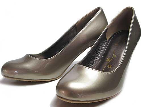 【あす楽】ユーピーレノマ U.P renomaエナメルプレーンパンプスベージュエナメル【レディース・靴】