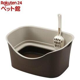 ラクラク猫トイレ ダブルブロック ブラウン(1セット)[爽快ペットストア]
