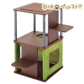 ネココ コーナーや壁ぎわに置きやすい キャットリビングタワー ロータイプ(1コ入)【necoco(ネココ)】[爽快ペットストア]