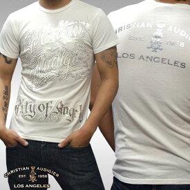 【セール】 クリスチャンオードジェー メンズ Tシャツ CHOLO SIGNATURE ホワイト シルバー Christian Audigier インポート ハリウッド LAセレブ ファッション セレブ カジュアル セレカジ 正規品 エドハーディー Ed Hardy 姉妹ブランド ストリート ロック スタイル ブランド