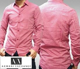 A|X Armani Exchange アルマーニエクスチェンジ メンズ 長袖 ストライプ ボタンシャツ レッド アメカジ イタカジ アウター セレカジ インポート カジュアル スタイル ファッション