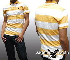【セール】 アメリカンイーグル メンズ ポロシャツ ボーダー ホワイト イエロー American Eagle トップス 半袖 シャツ インポート ファッション ブランド ストリート サーフ カジュアル アメカジ ヴィンテージ スタイル 正規 商品