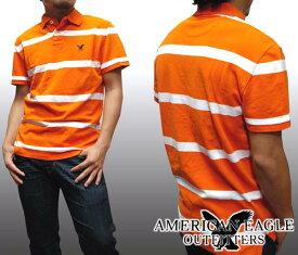 【セール】 アメリカンイーグル メンズ ポロシャツ ボーダー オレンジ ホワイト American Eagle トップス 半袖 シャツ インポート ファッション ブランド ストリート サーフ カジュアル アメカジ ヴィンテージ スタイル 正規 商品