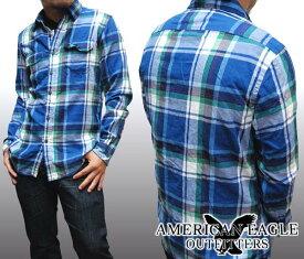 【セール】 アメリカンイーグル メンズ 長袖 ボタンシャツ チェックシャツ ブルー ネイビー American Eagle トップス シャツ インポート ファッション ブランド ストリート サーフ カジュアル アメカジ ヴィンテージ スタイル 正規 商品