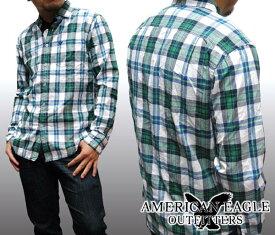 【セール】 アメリカンイーグル メンズ 長袖 ボタンシャツ チェックシャツ ホワイト グリーン American Eagle トップス シャツ インポート ファッション ブランド ストリート サーフ カジュアル アメカジ ヴィンテージ スタイル 正規 商品