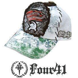 Four41 Los Angeles フォーフォーティーワン キャップ フラッグ ホワイト 029 インポート メンズ レディース 帽子 インポート セレブ セレカジ アメカジ ストリート サーフ LA セレブ Ed Hardy エドハーディー ファッション ROCK ロック スタイル 好きに◎